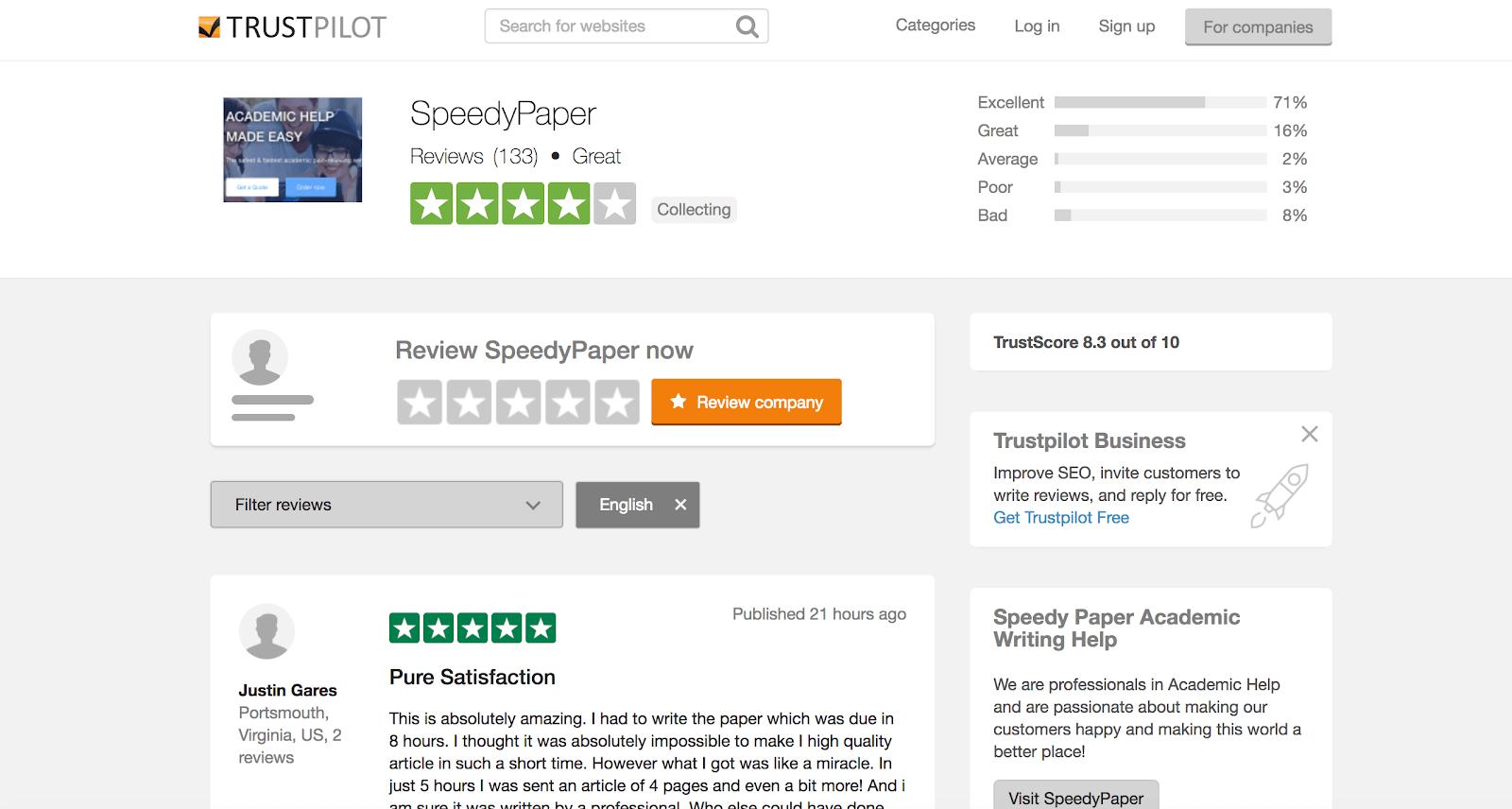 speedypaper reviews at trustpilot