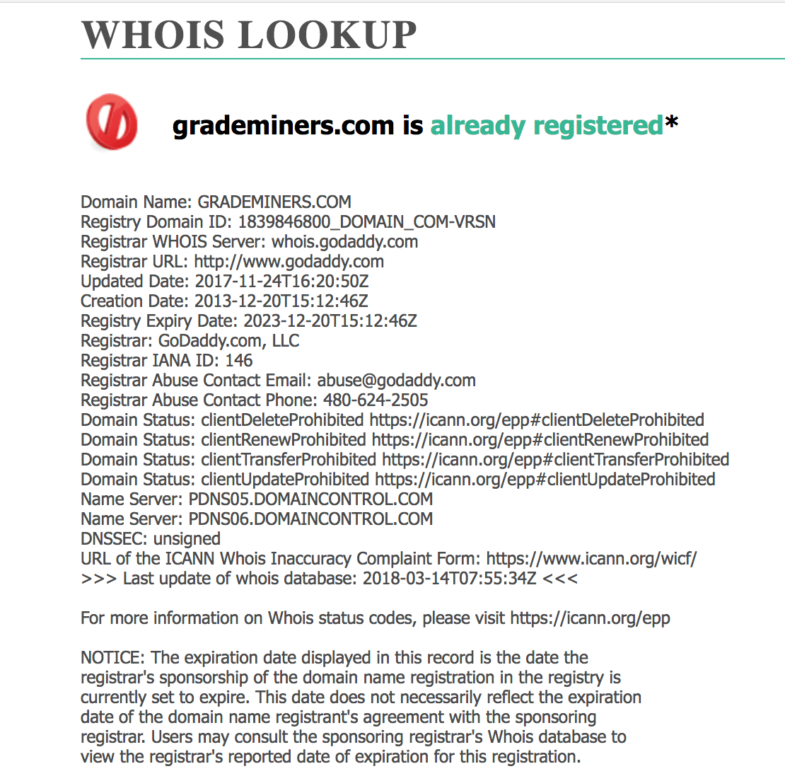 grademiners whois lookup