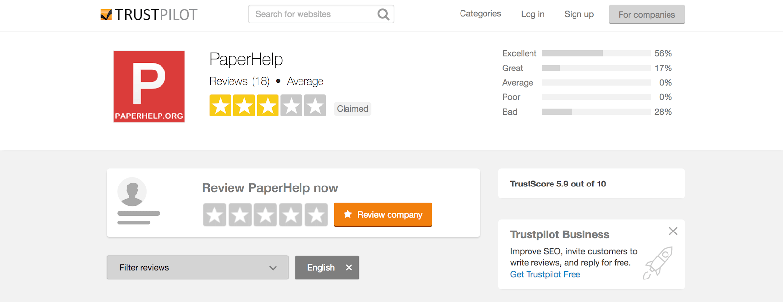 paperhelp reviews at trustpilot