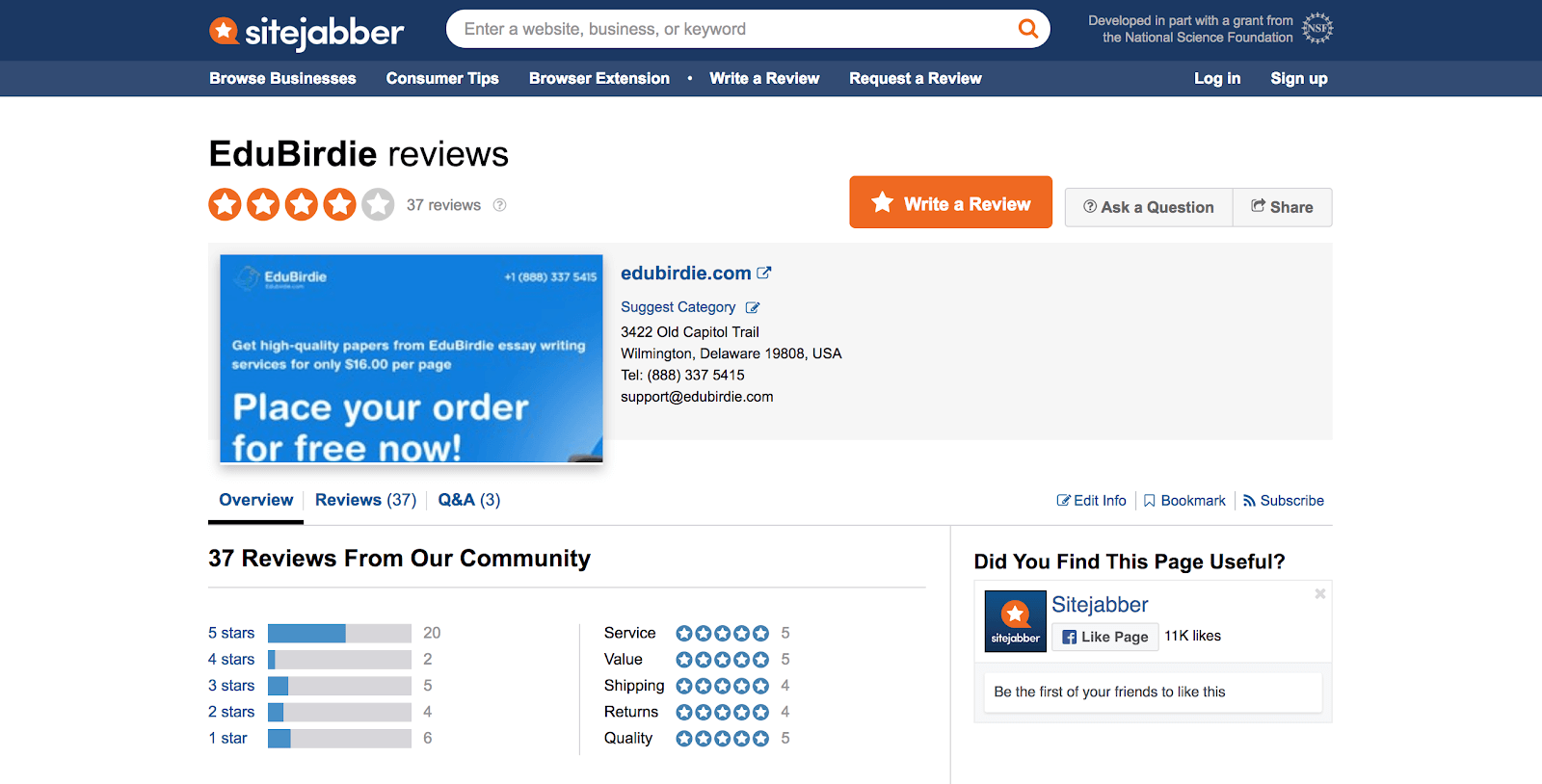 edubirdie review sitejabber