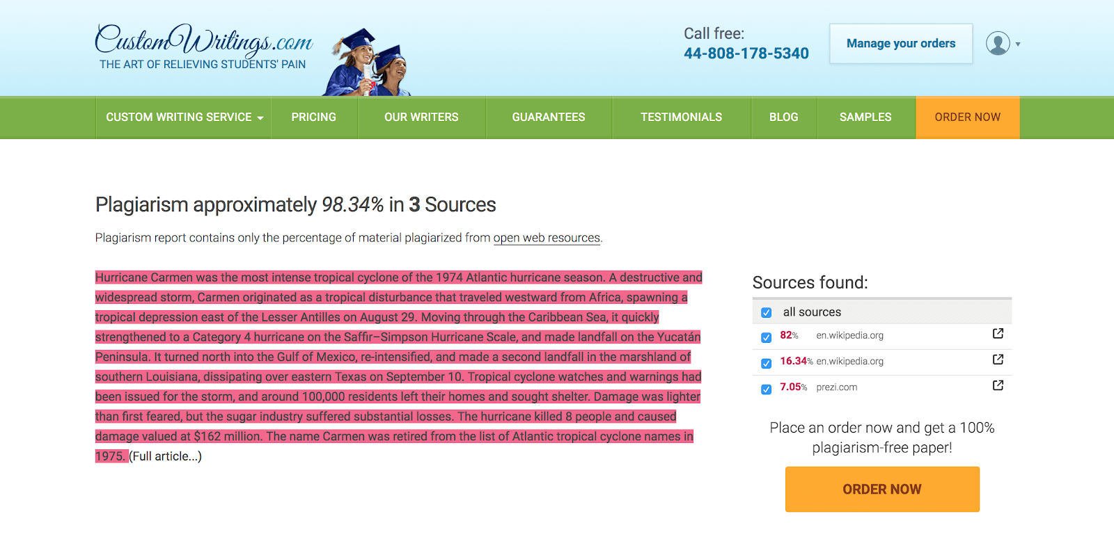 Customwritings.com plagiarism