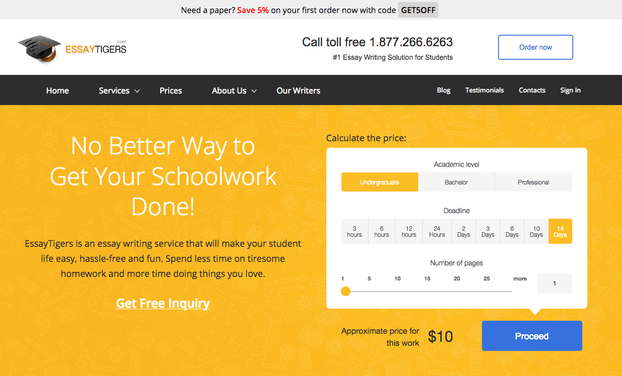Essaytigers.com home page