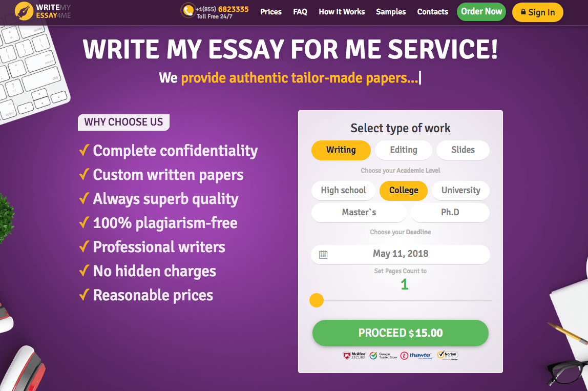 writemyessay4me.org home page