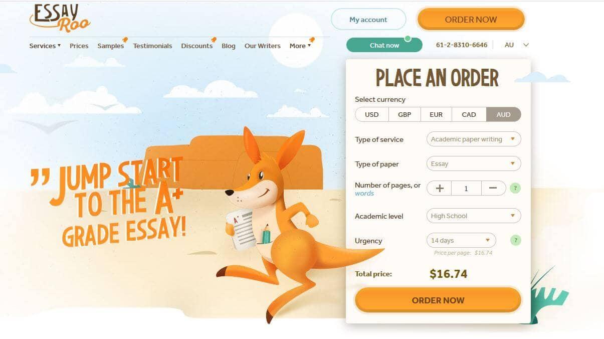 essayroo.com homepage