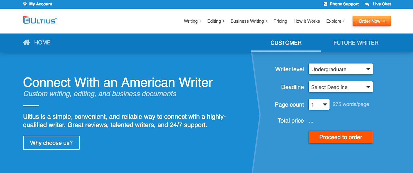 Ultius.com home page