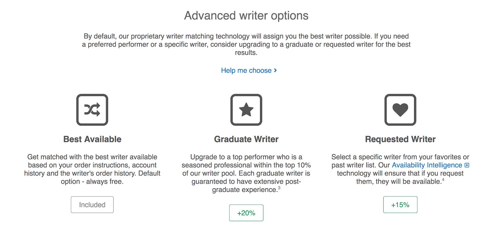 advanced writers options