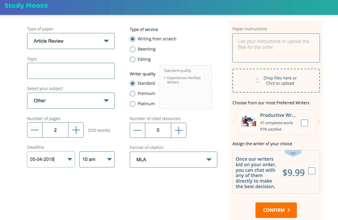 studymoose.com order form
