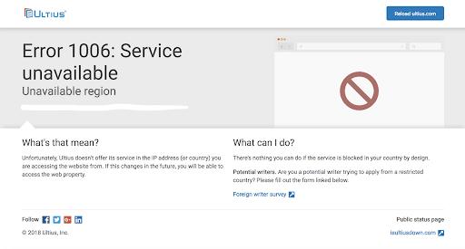 Ultius.com home page error