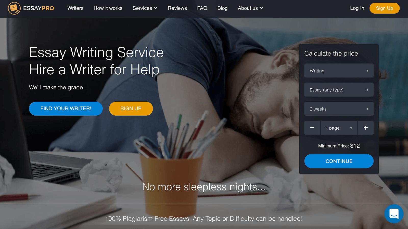 Essaypro.com home page