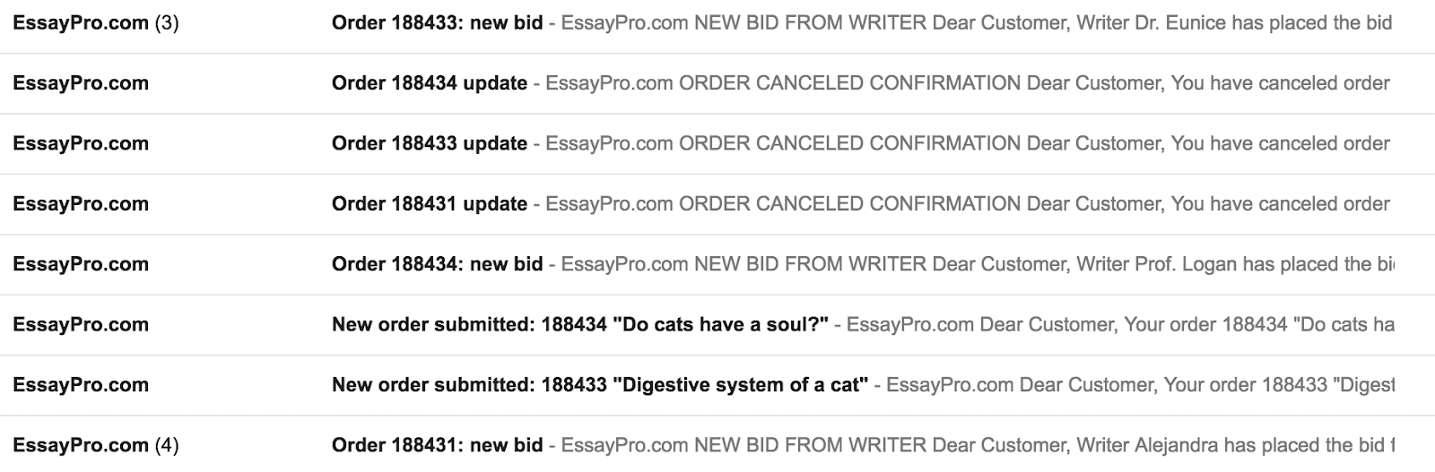 EssayPro email spams