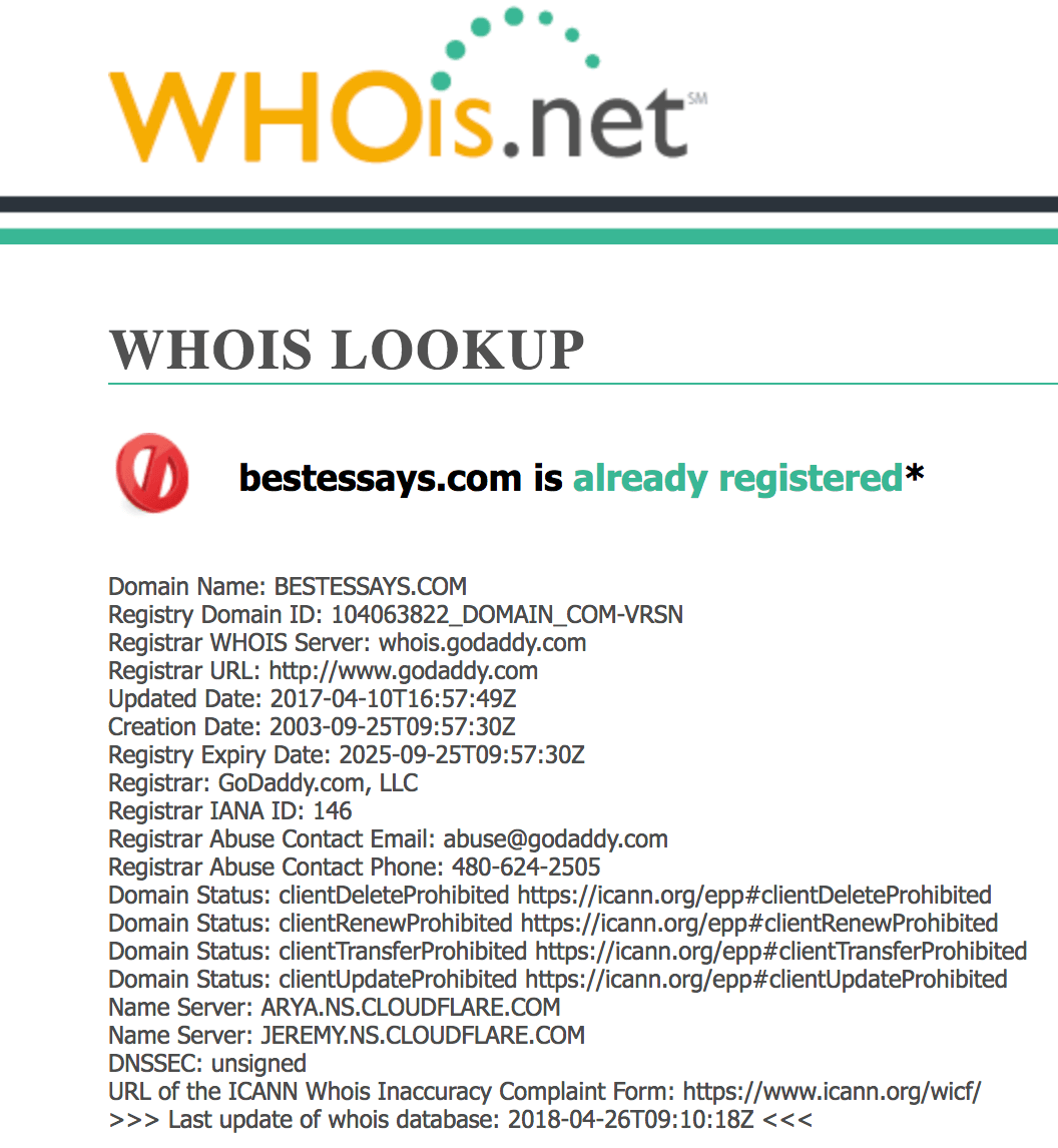 bestessay whois lookup
