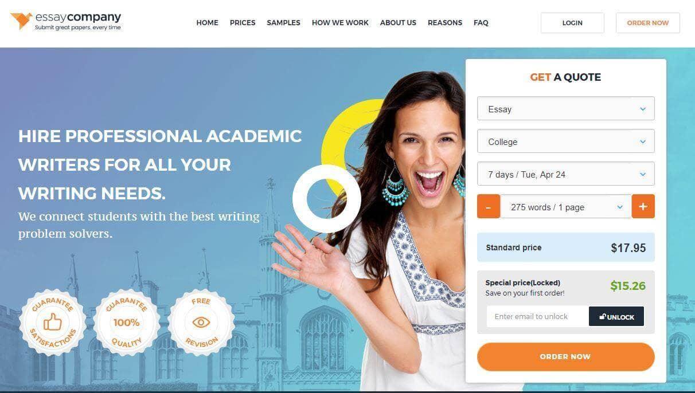 Essay-company.com home page