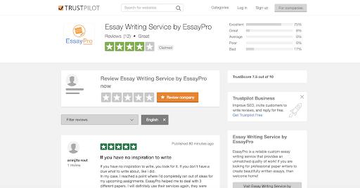 Trustpilot essaypro review