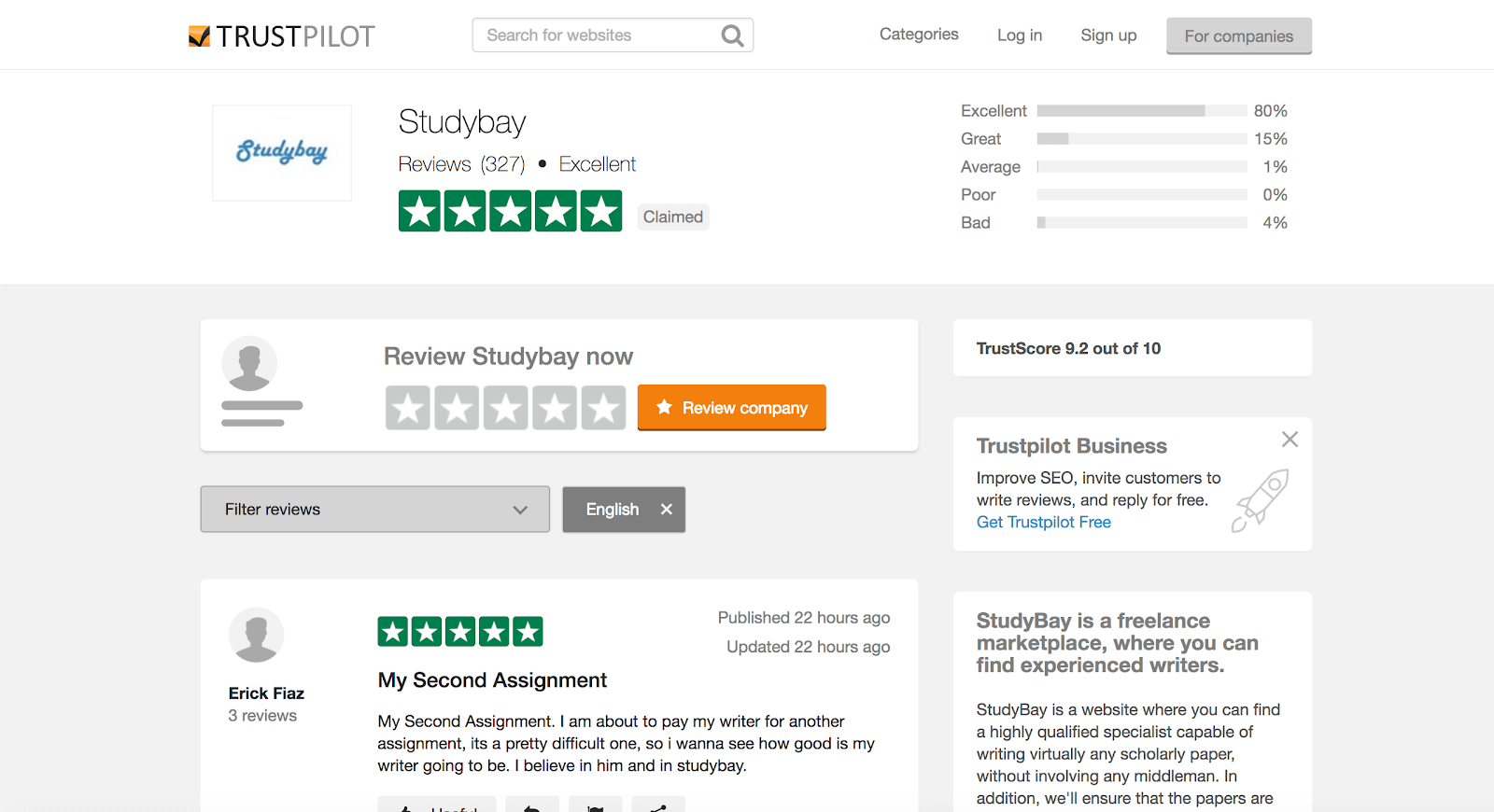 trustpilot studybay review